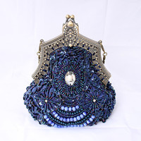 Beaded Sequin Purse Eveing Bag Royal Blue Art Deco Clutch, Old Hollywood Evening Bag, Great Gatsby 1920 Flapper Girl Accessory