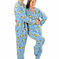 Blue Rubber Duck Footed Pajamas with Drop Seat for Teens and Adults