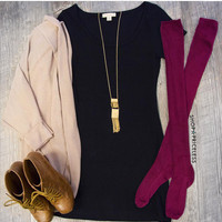 Fawn Over The Knee Socks - Burgundy