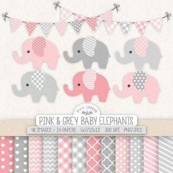 Elephant Clipart. Nursery, Baby Shower Clip Art, Digital Paper. Banners in Pink, Grey. Chevron, Heart, Polka Dot Pattern. Cute Baby Elephant