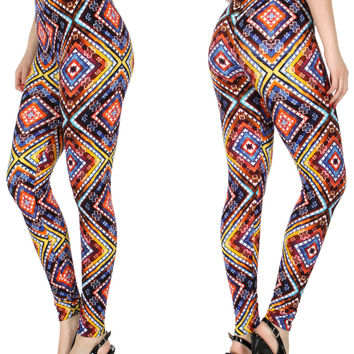 Diamonds and Cross  Print Softbrush leggings PLUS SIZE