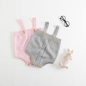 2017 baby girls jumpsuit clothes toddler newborn baby rompers knitted baby Overalls Button Rompers Princess Kids Clothes Rompers