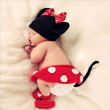 ca DCCKTM4 Newborn Girl Baby Hat+Skirt+Diaper Cover+Shoes Crochet Knit Minnie Mouse 4pcs 0-12 Months (Color Red) [8362705479]