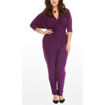 [15463] Deep V Solid Color Bat Sleeves Casual Jumpsuits Rompers