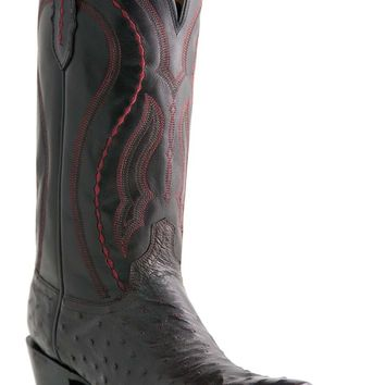 "Lucchese Since 1883 Mens Western with ""Grosseto"" Stitch Design Black Cherry Full Quill Ostrich M1609"