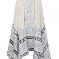 Beige High Waist Tribal Pattern Asymmetric Midi Skirt