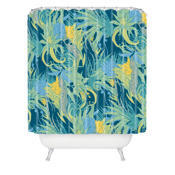 Geronimo Studio Jungle Boogie Blue Shower Curtain