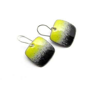 Handmade Yellow and Black Earrings, Modern Enamel Jewelry, Copper and Sterling Silver