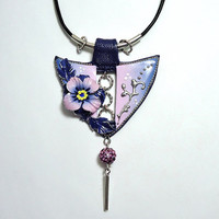 Flower pendant pink and navy blue flower necklace Handmade jewelry Polymer clay blue silver pendant gift for mother