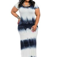 Plus Size Short Sleeve Gradient Women's Maxi Dress