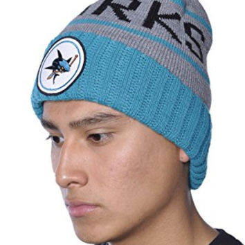 Mitchell & Ness NHL Sharks Knit Hockey Team Beanie Hat-One-Size