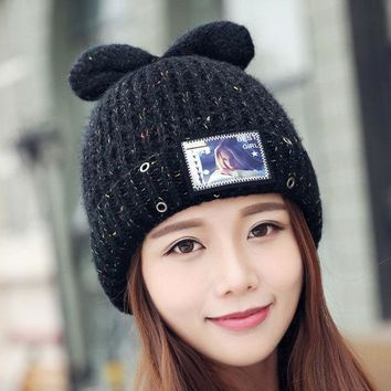 Kawaii Style Cat Knitted Caps Ear Warm Printed Women Hats  Wool Knitted Beanies Winter Hat Colorful
