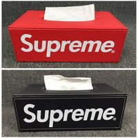 HIGH QUALITY street fashion supreme Leather Tissue Box