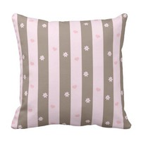Hearts and Flowers Vertical Stripe Pattern Throw Pillow