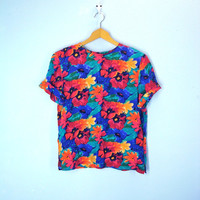 80s SILK Blouse Floral Watercolor Slouchy Tee Bold Colors