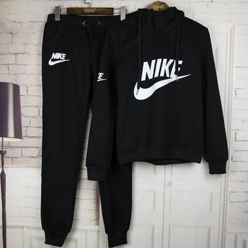 ICIKUH3 Nike Casual Print Hoodie Sweater Pants Trousers Set Two-Piece