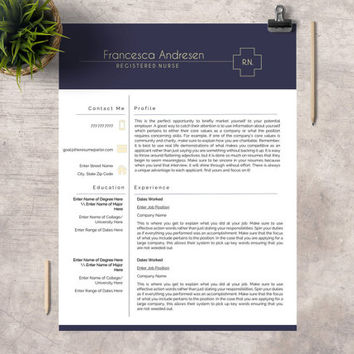 "Clean Professional Resume Template | Creative Modern Resume | CV for Word | Medical Template | Nurse CV | ""The Nurse"""