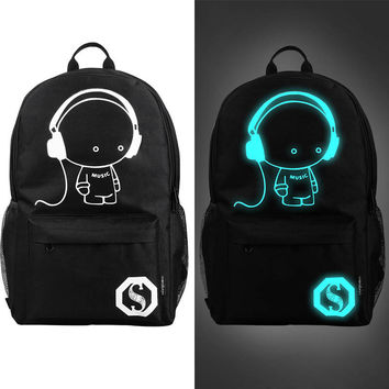Fashion Luminous Backpack For Teenage Girls Music Boy Travel Laptop School Bags Zipper Printing Backpacks Bolsas Mochila Escolar