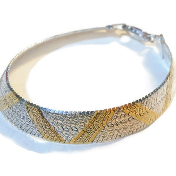 Reversible sterling silver Milor herringbone bracelet with gold plate overlay made in Italy