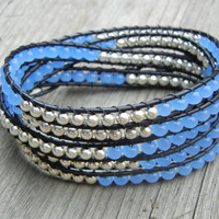 Beaded Leather Wrap Bracelet 5 Wrap with Silver and Soft Blue Beads on Black Leather