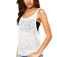 White All-Match Perspective Tank Top