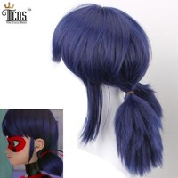 Miraculous Ladybug H Marinette Lady Bug Girl Cosplay Costume Double Ponytail Braids Perm Blue Hair