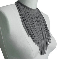 Slate Grey Suede Leather Fringe Scarf or Necklace, Soft Gray Suede Fringe Choker, one in stock
