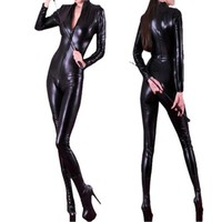 Adult Sexy Cool Black Faux Black Leather Jumpsuit Bodysuit Bondage Zentai Catsuit Female Pole Dance Clubwear Leotard