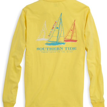 Southern Tide Tee- Three Sails- Yellow