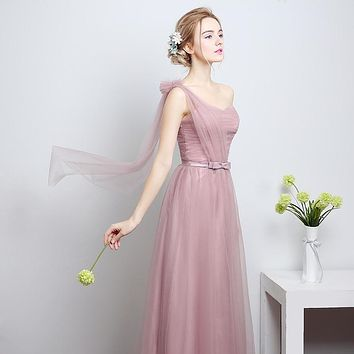Sweetheart One Flower Shoulder A Line Cameo Brown Bow Sash Long Draped Tiered Lace Bridesmaid Dress Gown LongDress2016C75LF801LD