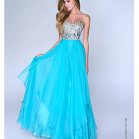 Aqua Chiffon & Beaded Strapless Prom Gown