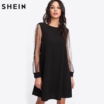 SHEIN Elegant Womens Dresses Pearl Beading Mesh Sleeve Tunic Dress
