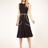 ASOS | ASOS Midi Dress With Belt And Pleat Detail at ASOS