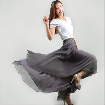 Grey Chiffon Maxi Skirt Long Sundress maternity Wear Holiday Maxi Dress Skirt Beach Skirt