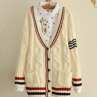 Cute College Wind thicker knit V-neck cardigan sweater