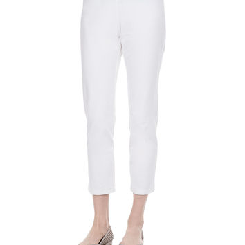 Women's Washable Stretch-Crepe Ankle Pants, White - Eileen Fisher - White (SMALL)
