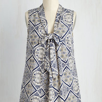 Mid-length Sleeveless A-line South Florida Spree Top in Tiled Flowers