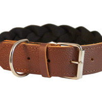 "High Quality Cotton Web Leather Combo Braided Dog Collar 1.5"" Wide. Fits 22""-26"" Neck, Cane Corso, Great Dane"