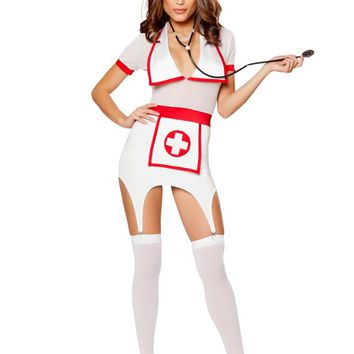 Roma Costume Adult Women Halloween Party Outfit 3 Piece Doctors Naughty Assistant Red/White - Large