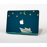 """The Layered Paper Night Ship with Gold Stars Skin Set for the Apple MacBook Pro 13"""""""