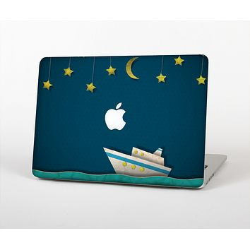 The Layered Paper Night Ship with Gold Stars Skin Set for the Apple MacBook Pro 13""