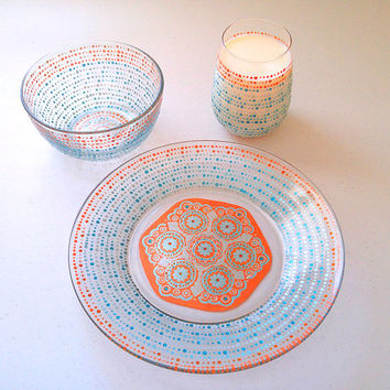 Mandala Dinnerware, Wedding Dining Sets, Designer Plates, Hand Painted Plate, Glassware, Decorative Plates, Blue, Orange, Glitter,