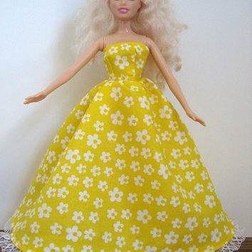 Yellow Barbie Doll Gown