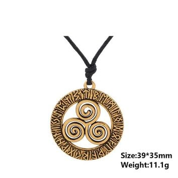 Triskele Three Helix Rune Hollow Pendant Necklace Available in Silver/Gold-color