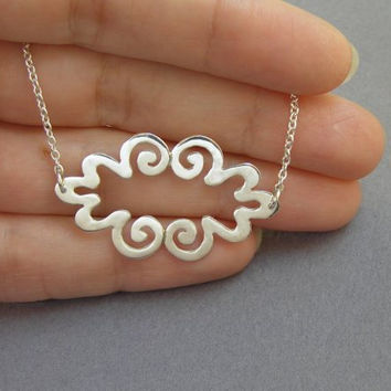 Silver Necklace Pendant - Curvy Cloud Pendant - Sterling Silver