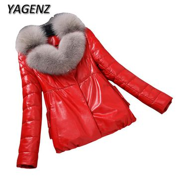 2018 Winter PU Leather Jacket Women Down cotton Coats High-end Slim Thick Warm Parkas Lady Big fur collar Jacket Ladies Clothing