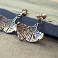 Leaf earrings, Sterling silver earrings,Boho earrings,Silver leaf earrings,Leaf dangle earrings,Botanical jewerly, Ginkgo earrings, Nature
