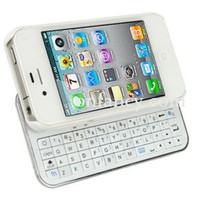 White Bluetooth Keyboard+Hardshell Case for iPhone 4/4s/5
