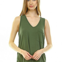 Green Pocket Cupro Tank