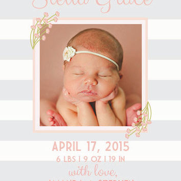 Pink Floral Baby Girl Birth Announcement Custom Digital Printable Card